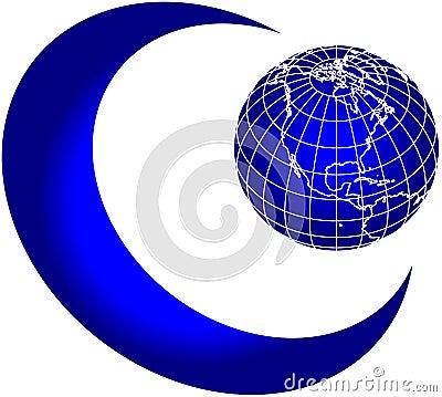 Moon and world globe