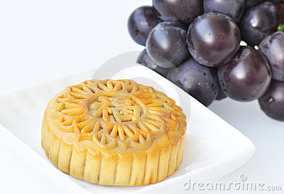 Mooncake and grapes