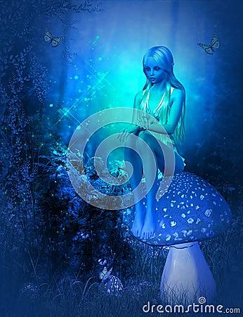 Moonlight fairy Stock Photo