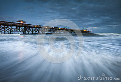 Moonlight Folly Beach Pier Charleston SC Coast