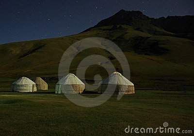 Moonlight on kirghiz yurt