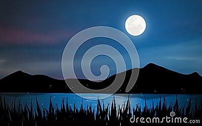 Moonlight lake. Stock Photo