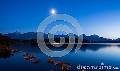 Moonlight at Lake Hopfen Stock Photo