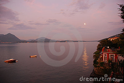 Moonlight on lake Maggiore Stock Photo