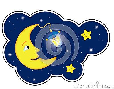 Moonlight night in cloud frame