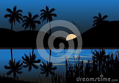 Moonlight Over A Lake With Mountain Vector Illustration