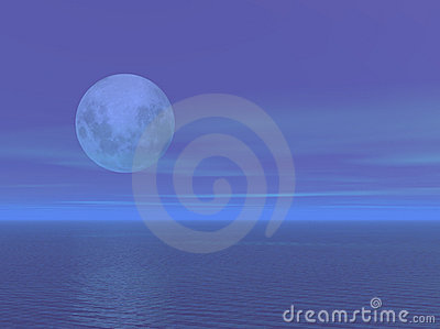 Moonlight over the ocean sea