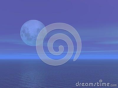 Moonlight over the ocean sea