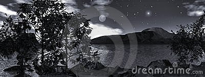 Moonlight over the water, panoramic