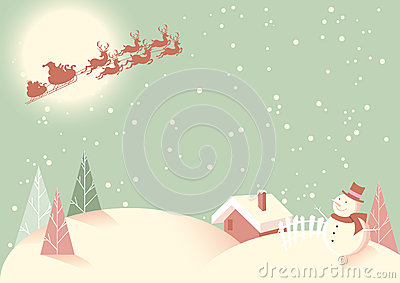 Moonlight Winter Scene in Retro Colours