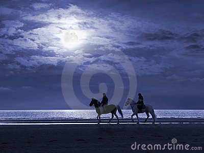 Moonlit Beach and Horseriders
