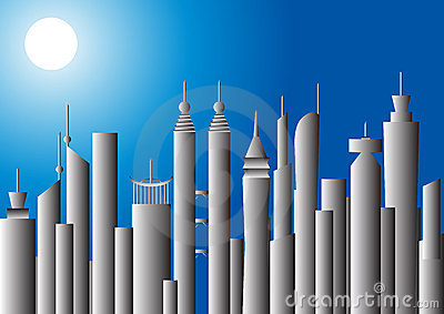 Moonlit cityscape,  illustration