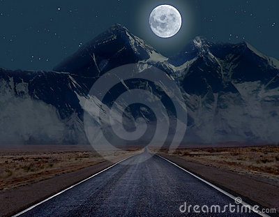 Moonlit mountain road
