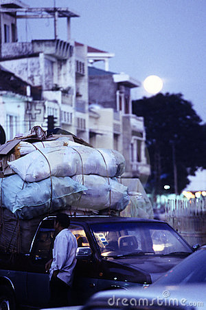 Moonrise- downtown Phnom Penh, Cambodia