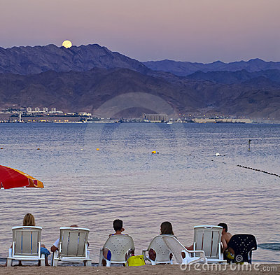 Moonrise on the north beach of Eilat