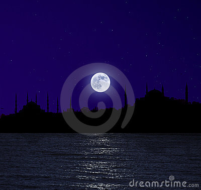 Moonrise over Istanbul