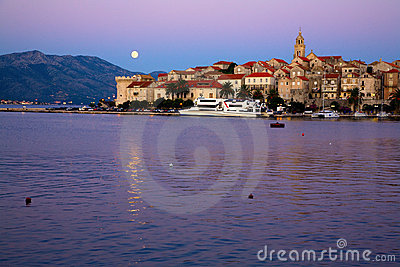 Moonrise over Korcula