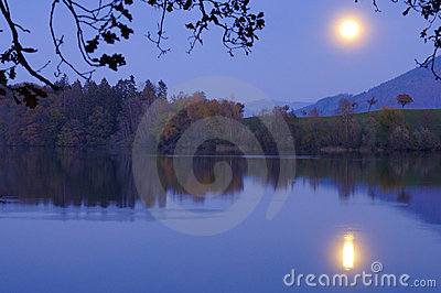 Moonrise over the lake