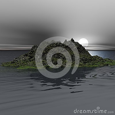 Moonrise Over Mossy Rock