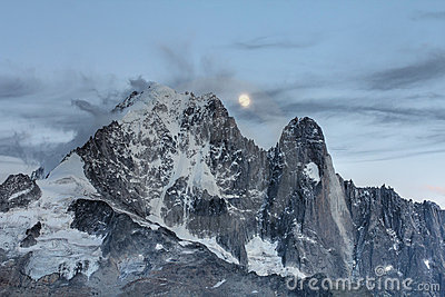 Moonrise over mountains, French Alps