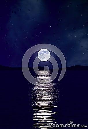 Moonrise over Sea
