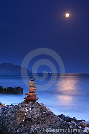 Moonrise over the sea