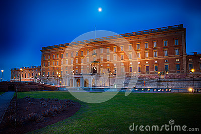 Moonrise over Swedish Royal Palace in Stockholm
