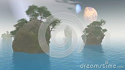 2 moons alien landscape