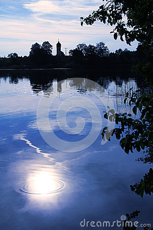 Moor lake with moonlight scenery Stock Photo