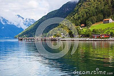 Moorage on fjord shore