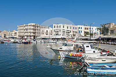 Moored boats harbour Chania Editorial Photography