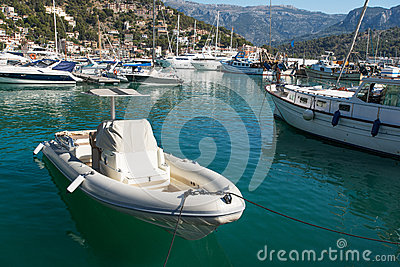 Moored boats at lagoon in Mallorca