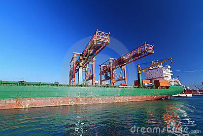 Moored container ship