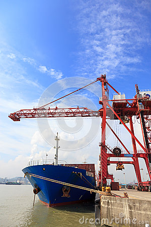 Moored container ship in a harbor