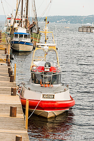 Moored maritime rescue boat