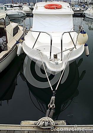 Moored motor boat