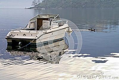 Moored motorboat
