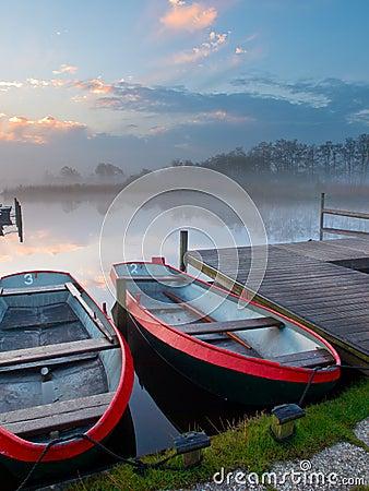 Moored rowing boats