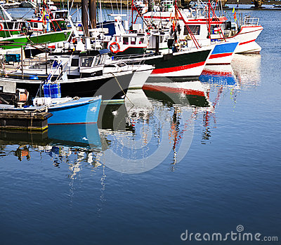 Moored trawlers in Saint Jean de Luz, France