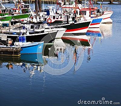 Moored trawlers in Saint Jean de Luz, France