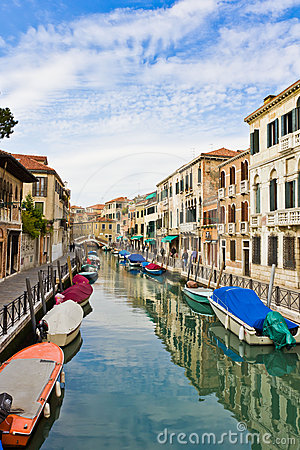 Moored workboats in Venice. Editorial Stock Photo
