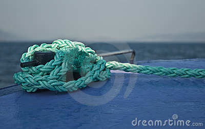 Mooring rope tied to boat