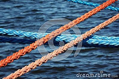 Mooring ropes securing ships