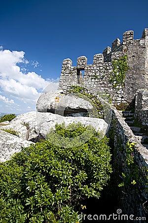 Moorish Castle stone wall at Sintra