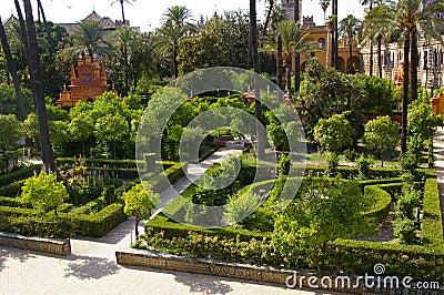 Moorish Palace and garden in Seville,