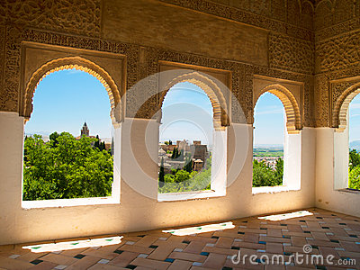 Moorish pavilion and gardens of Alhambra, Granada