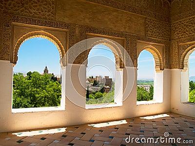 Moorish pavilion and gardens of Alhambra, Granada