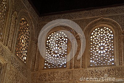 Moorish sculptured windows, Palace of Alhambra.