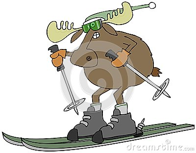 Moose on skis