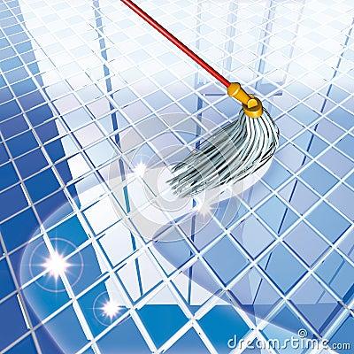 Mop blue floor